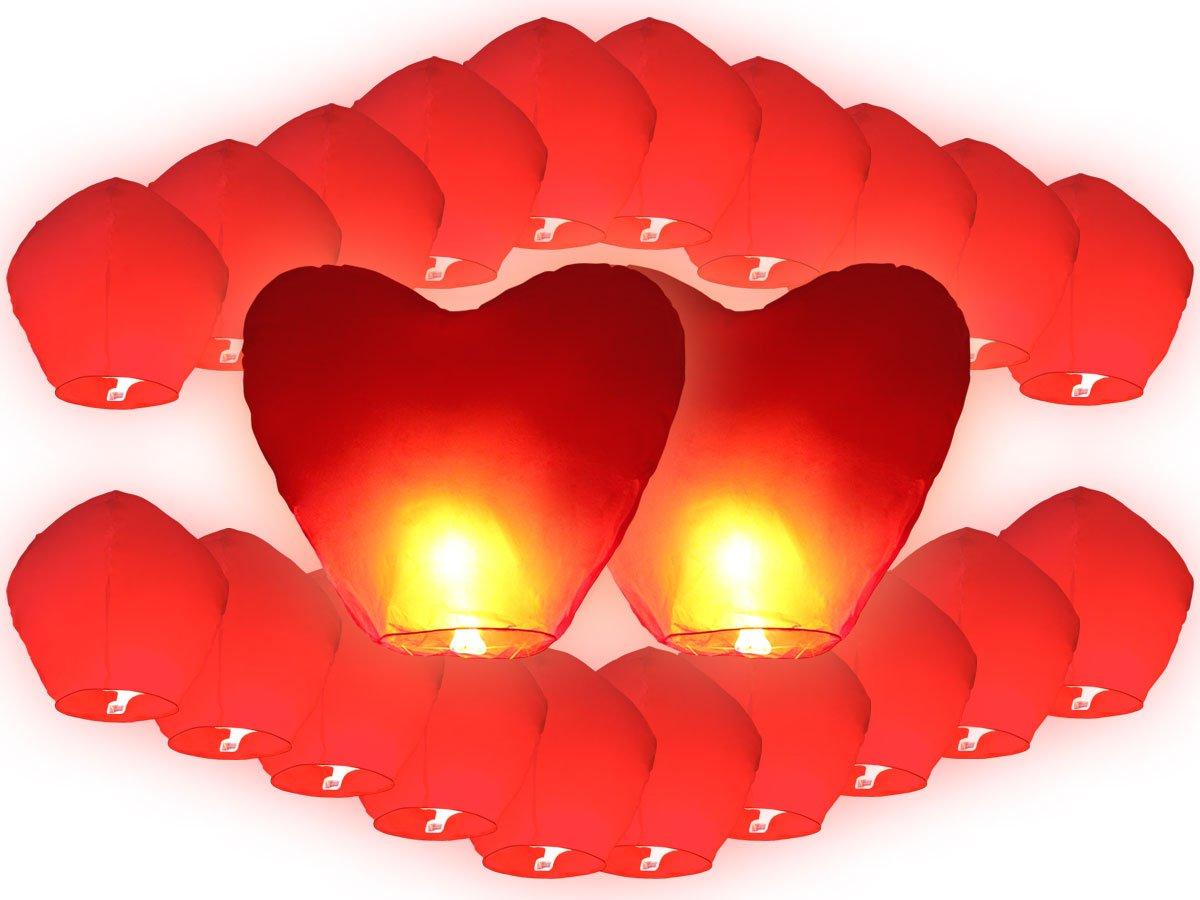 Lot de 22 Lanternes volantes rouges inclus 2 coeurs rouges géants pour fête mariage amoureux romantique saint valentin