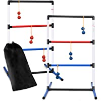 Goplus Ladder Toss Game Set, Indoor/Outdoor Ladder Ball Toss Game Set with 6 PE Bolas & Carrying Bag, Built-in Score Tracker, 40 x 24.5 Inches, Fun Game for Yard, Lawn, Beach