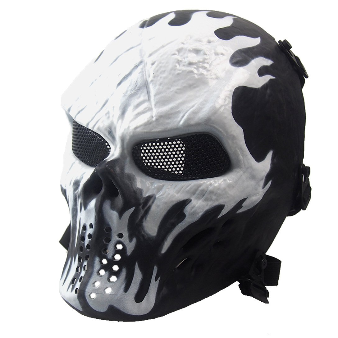 NINAT Airsoft Skull Masks Full Face - Tactical Mask Eye Protection for CS Survival Games BBS Shooting Masquerade Halloween Cosplay Movie Props Zombie Scary Skeleton Masks Wildfire by NINAT