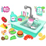 KIDPAR 28 Pcs Color Changing Kitchen Play Sink Toys for Kids, Toddler Electric Dishwasher with Running Water, Automatic…