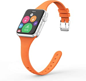 Vinyl Etchings Slim Band Compatible with Apple Watch 40mm 38mm 44mm 42mm for Women Men, Thin Narrow Replacement Soft Silicone Sport Strap for iWatch SE Series 6 5 4 3 2 1 (Orange, 42/44MM)