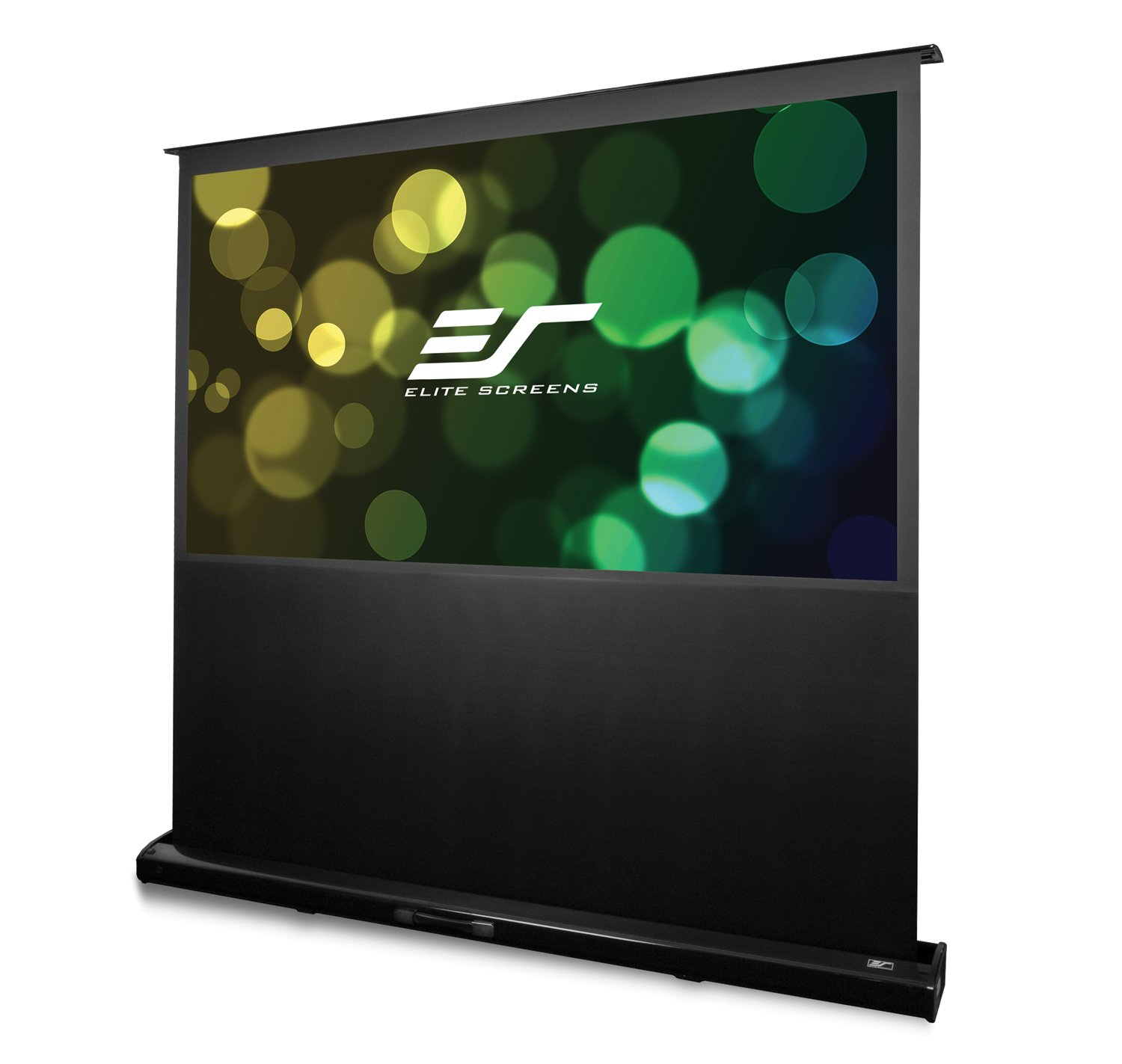 Elite Screens FTE80H Kestrel Tension Tab-Tensioned Floor-Rising Portable Electric Projector Screen, Black Piano Gloss Housing, 80-Inch Diag. 16:9 Elitescreens