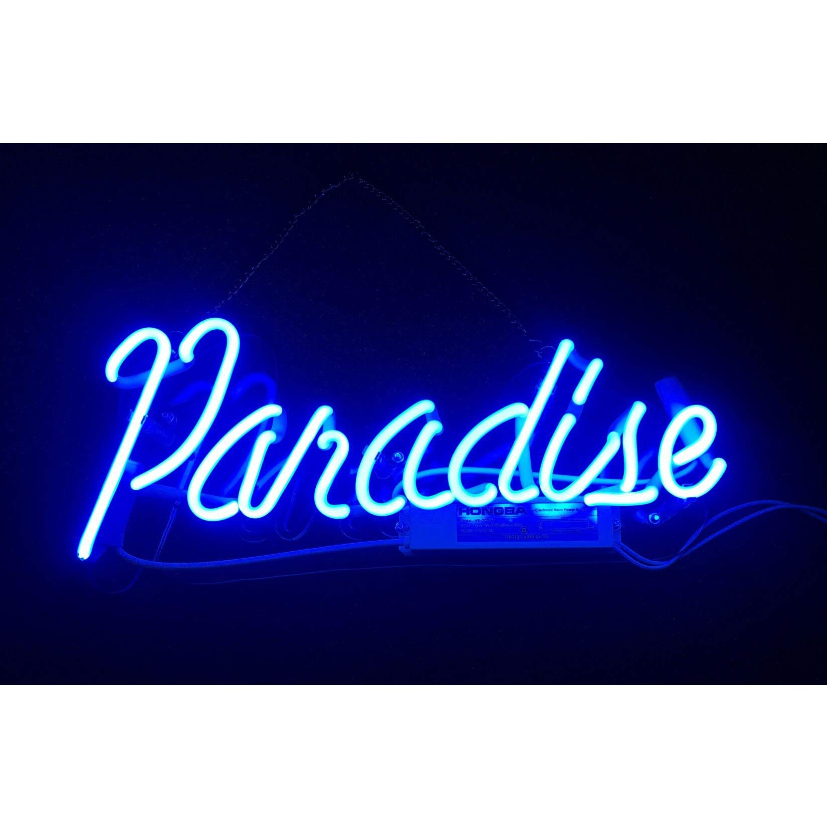 Blue Paradise Real Glass Neon Sign Beer Bar Pub Store Home Room Party Light Sign Neon Lamp Wall Artwork Sign, Prepaid Custom Duty(14''x6'',Blue)