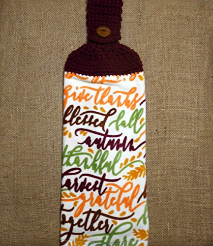 Fall Sayings Hanging Dish Towel Double Sided With A Crochet Top, Autumn Kitchen Decor
