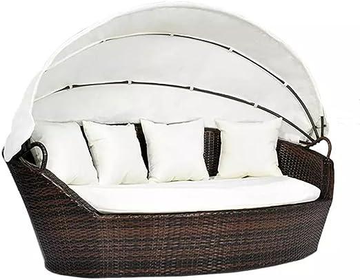 Sofá de exterior en ratán marrón con dosel y almohadas cama de jardín: Amazon.es: Jardín