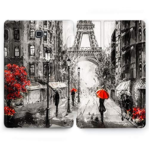 Wonder Wild Beautiful Paris Samsung Galaxy Tab S4 S2 S3 A E Smart Stand Case 2015 2016 2017 2018 Tablet Cover 8 9.6 9.7 10 10.1 10.5 Inch Clear Design Rain Weather City Street Vintage Cute Smart