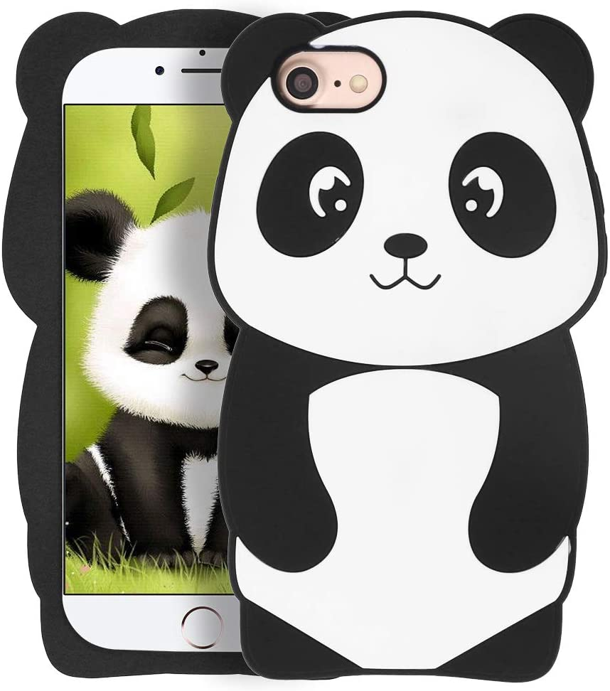 Megantree Cute iPhone SE 2020 case, iPhone 6 Case, iPhone 6s Case, iPhone 7 Case, iPhone 8 Case, Funny Panda 3D Cartoon Animals Soft Silicone Shockproof Cover Case Skin for Girls Boys Kids Women