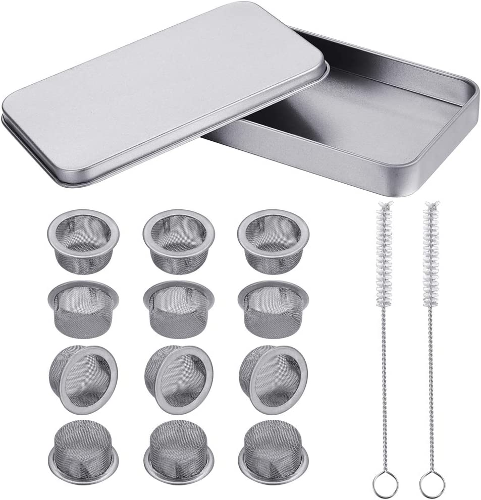 12 PCS Crystal Pipe Screens, 1/2 inch Bowl Stainless Steel Pipe Screen for Pipe, Metal Screens with 2 Brushes and Storage Box