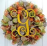 Yellow Fall Thanksgiving Autumn Monogram Letter Initial Door Wreath; Burlap Green Brown Orange : F1