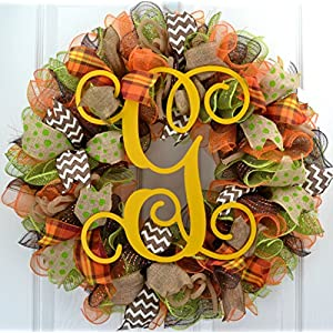 Yellow Fall Thanksgiving Autumn Monogram Letter Initial Door Wreath; Burlap Green Brown Orange : F1 19