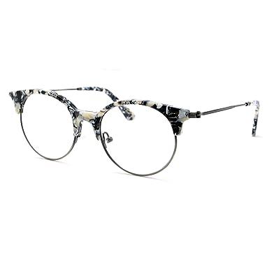 Amazon.com: TIJN Women Cateye Eyeglasses Frame Semi-rimless Glasses ...