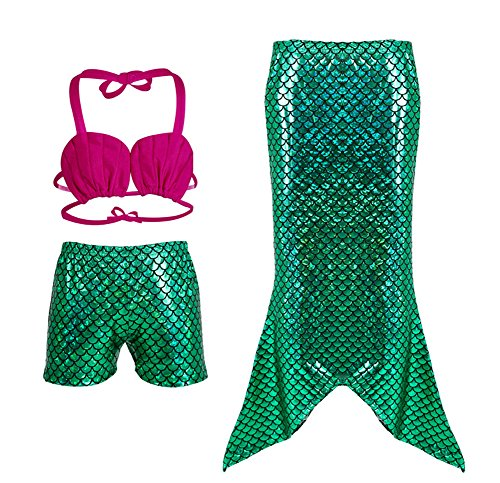 Lystaii 3pcs Little Girls Princess Mermaid Tail Swimwear Swimmable Bikini Set Fancy Costume (120 (4-5T))