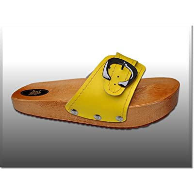 'Marited' Yellow Anti Cellulite Medical Slimming Sandals Clogs Shoes Natural Wood and Leather