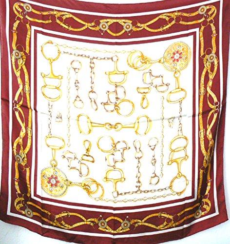 Silk Salon Large 100% Luxurious Charmeuse Silk Scarf Shawl Wrap Equestrian A419 - Equestrian Silk Scarf