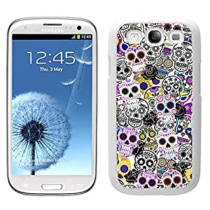 Funda carcasa TPU (Gel) para Samsung Galaxy S3 estampado sticker bomb calaveras mexicanas borde blanco