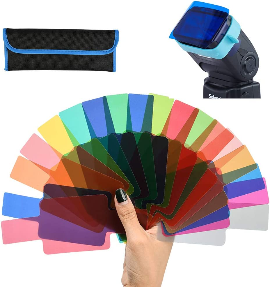 WOWOSS 20 Colour Flash Gels Filter for Camera Colour Correction Filter Universal Lighting Gel Filters for Photography with Fix Band and Storage Bag