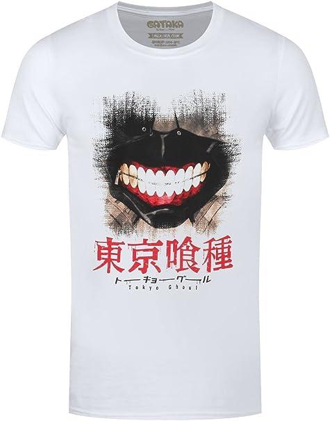 Tokyo Ghoul Camiseta Masculino Kaneki Máscara Blanca de Algodón ...