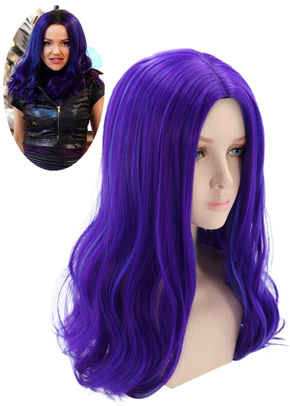 Mersi Mal Wig for Kids Mal Costume Cosplay Wig Long Wavy Purple Wig for Halloween Party S057 by Mersi