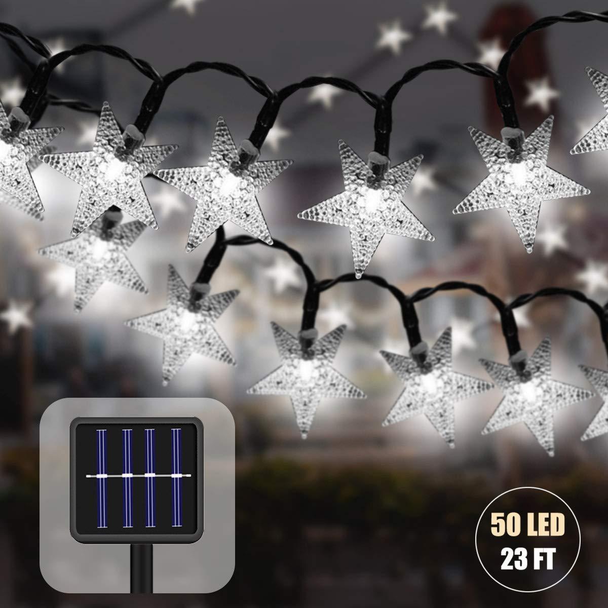 Guirnaldas Luces Exterior 7 M 50 LED Impermeable Cadena de Luces Solares Estrella Luces de Hadas Decoraci/ón para Jardin Fiesta Casa Bodas Amarillo