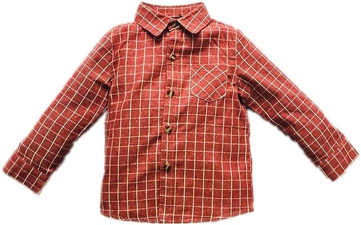 Weentop Camisa de Manga Larga a Cuadros para niños Ropa para niños pequeños (Color : Rojo, tamaño : 130): Amazon.es: Hogar