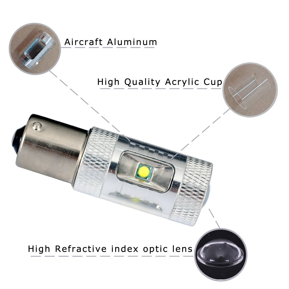 pack of 2pcs Guangzhou Liangjie Automobile Accessories CO High Power 30W CANBUS Cree chip 1156 LED Turn Signal Lights white LTD.