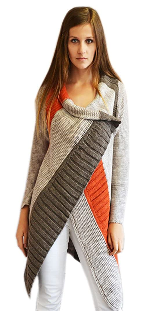 e4cff37f7cadb5 Mikos  Damen AUSGEFALLENE Strickjacke Jacke Strick ASYMETRISCH WARM MIT  Wolle (933 (Brown Beige Orange)  Amazon.de  Bekleidung