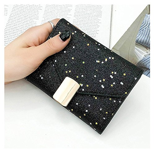 léger Mince et Color Little Clutch Main Shinning Femmes Casual Fold Wallet Lovely rabbit Silver Black Sac Style à xHF11