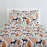 Carousel Designs Navy and Orange Woodland Animals Duvet Cover Twin Size - Organic 100% Cotton Duvet Cover - Made in the USA