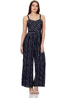 2d7b686bcc Roman Originals Women Pinstripe Sweetheart Neck Sleeveless Jumpsuit - Ladies  Summer Party Holiday Daywear Striped…