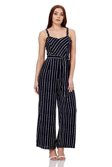 8d75b6f015e3 Roman Originals Women Pinstripe Sweetheart Neck Sleeveless Jumpsuit - Ladies  Summer Party Pinstripes Holiday Daywear Striped Jumpsuits  Amazon.co.uk  ...