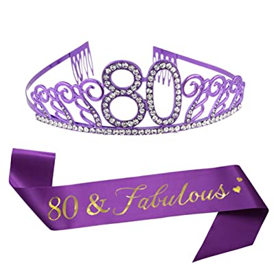 80th Brithday Purple Tiara and Sash, Glitter Satin Sash and Crystal Rhinestone Birthday Crown for Happy 80th Birthday Party Supplies Favors Celebration 80th Surprise Party Gifts Cake Topper: Toys & Games