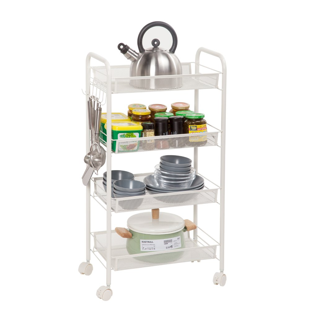 26895a964093 Mesh Storage Rolling Cart Shelving Rack Shelf Rolling Kitchen Pantry  Storage Utility Trolley Cart (4 Tiers, Ivory White)
