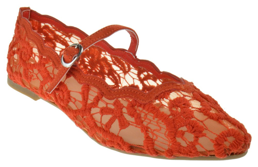 Bamboo Goodness 49 Womens Maryjane Pointed Toe Floral Flats B07CZ52WCQ 8.5 B(M) US|Orange