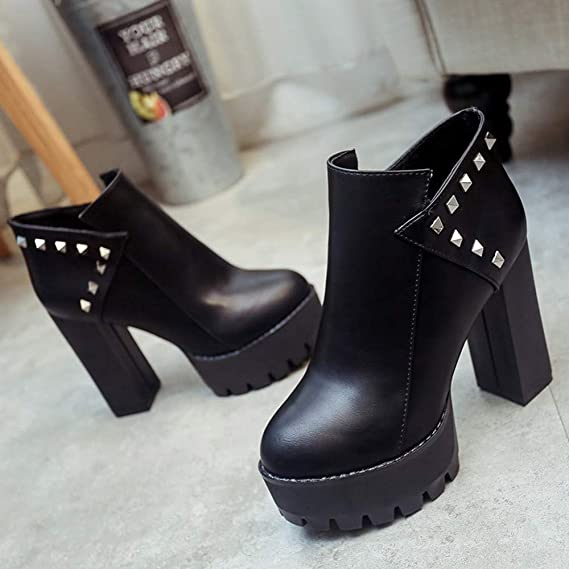 Amazon.com: Ninasill Combat Boots Women Zipper High Heel Thick Christmas Rivets Boots Round Toe Shoes: Clothing