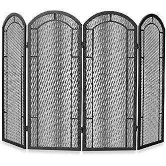UniFlame 4-Fold Iron Fireplace Screen in Black