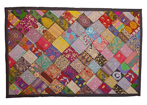 (KDHS Rich India Vintage Decor Bead Sequin Sari Wall Hanging Tapestry Throw Runner Size 40 x 60 inches)