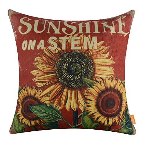 LINKWELL 18''x18'' Shabby Chic Vintage Red Sunflower Burlap Cushion Covers Pillow Case (CC1333) by LINKWELL
