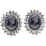 Gray Cameo Earrings Stud Post Clear Rhinestones Fashion Jewelry for Women
