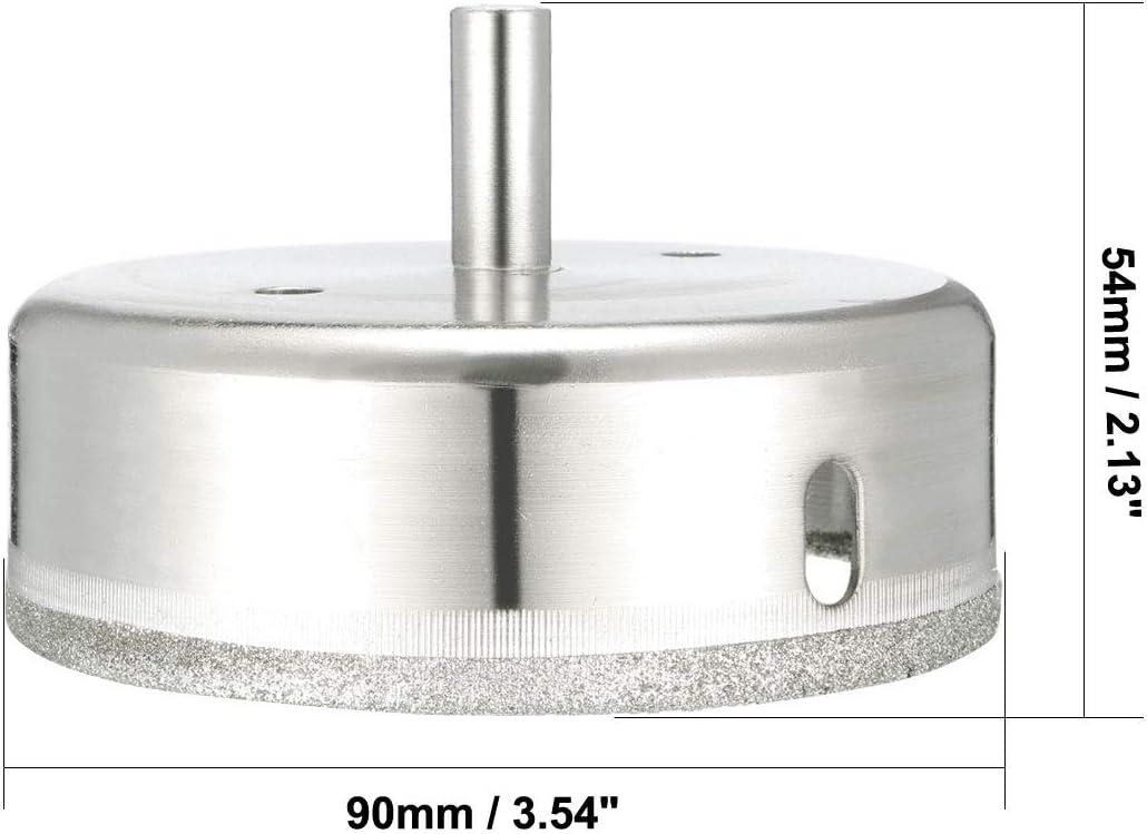 fibra de vidrio vidrio m/ármol sourcing map Sierra de agujero de broca de diamante de 90 mm para azulejo granito herramienta de cer/ámica
