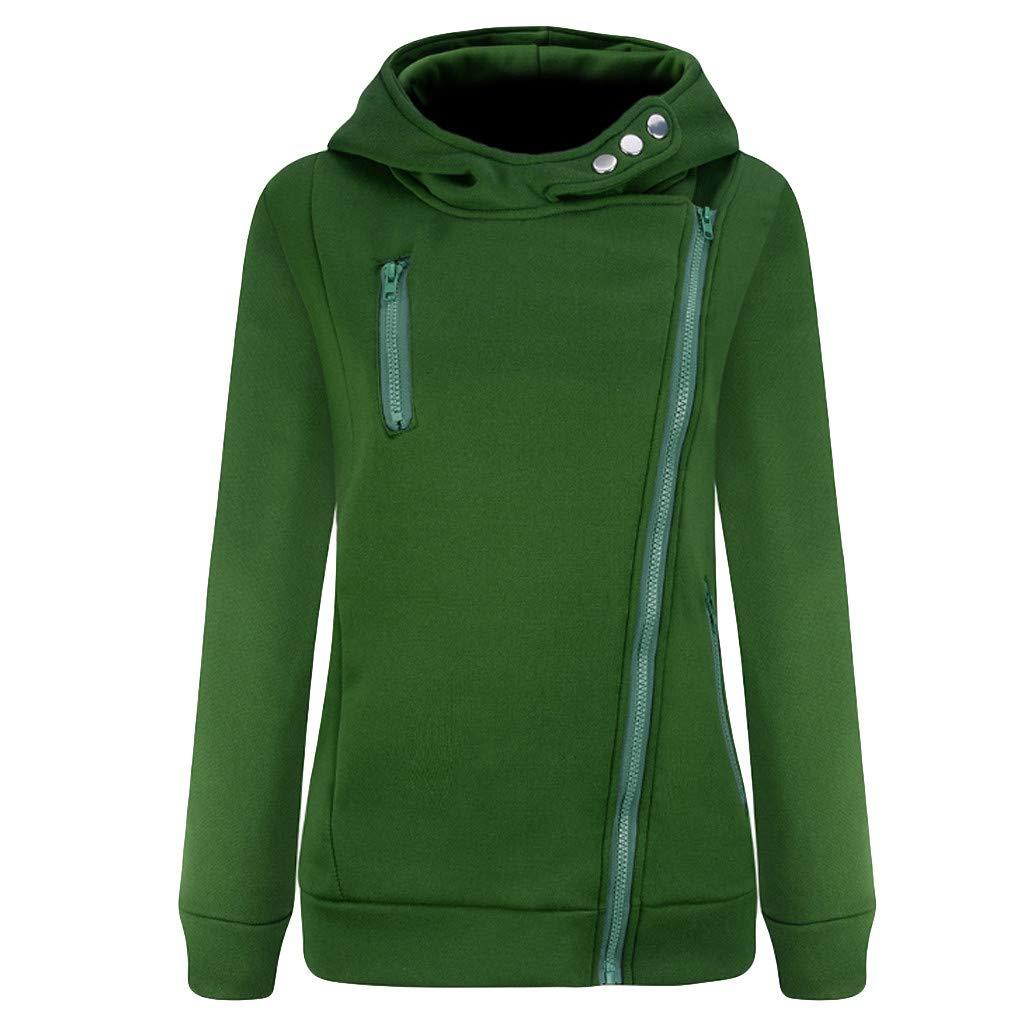 Shusuen Women's 3/4 Long Sleeve Hoodie Open Front Jacket Zipper Outwear Coat with Pockets Green by Shusuen