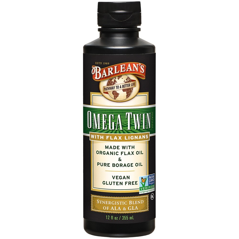 Barlean's Lignan Omega Twin Oil with 6,010mg ALA and 465mg GLA Omega Fatty Acids - Vegan, Non-GMO, Gluten-Free - 12-Ounces