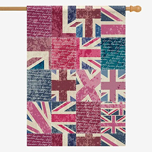 InterestPrint Retro Patchwork with London Letter Union Flag