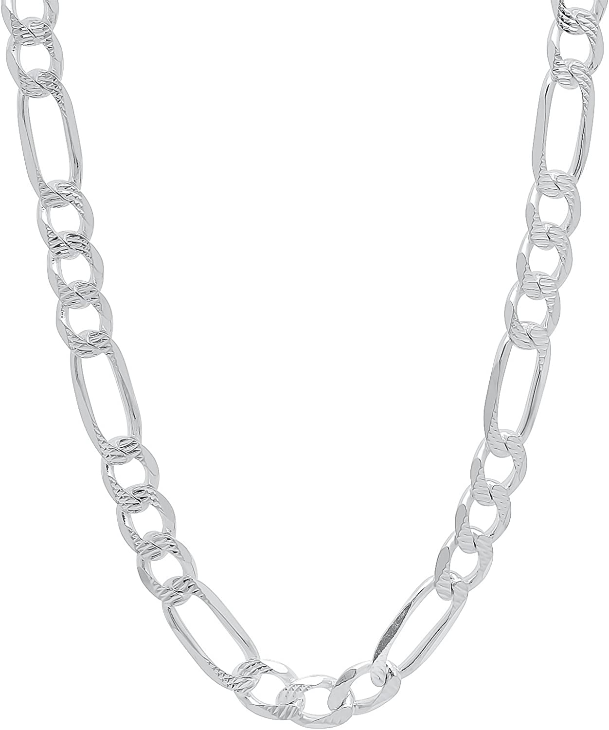 Sterling Silver Diamond-Cut Figaro Link Chain Solid 925 Italy Necklace