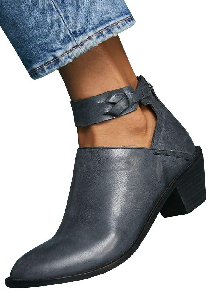 Women's Ankle Booties Straps V Cut Stacked Block Heel Pointed Toe Zipper Faux Leather Boots