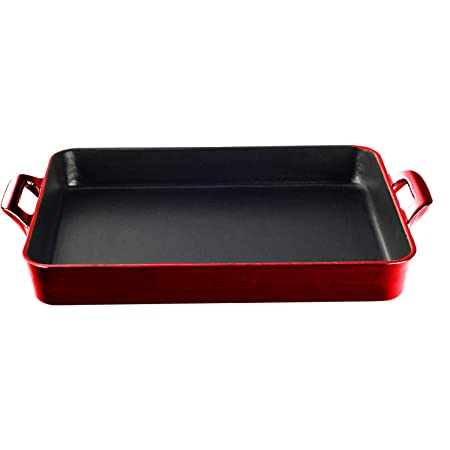 La Cuisine LC 8100 1 Piece Shallow Cast Iron Roasting Pan with Enamel Finish