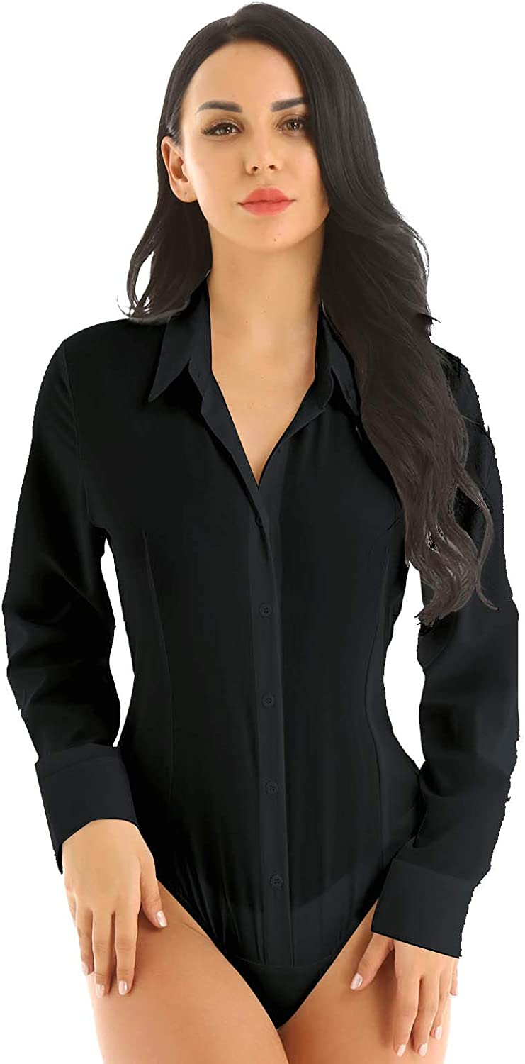 YiZYiF Womens Essential Long Sleeve Button Down Easy Care Work Office Blouse Shirts Bodysuit