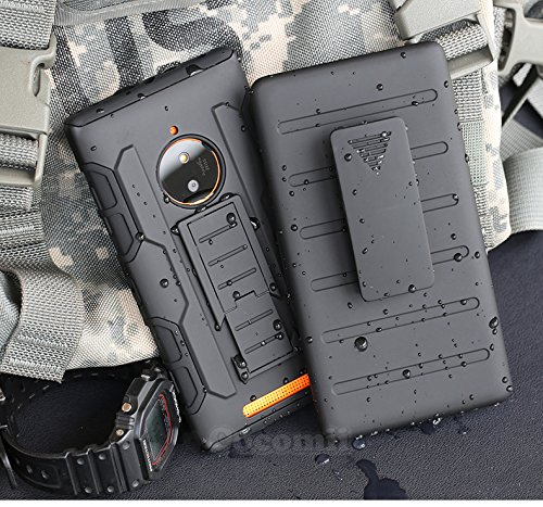Nokia Lumia 830 Case, Cocomii Robot Armor NEW [Heavy Duty] Premium Belt Clip Holster Kickstand Shockproof Hard Bumper Shell [Military Defender] Full Body Dual Layer Rugged Cover Nokia (Black)