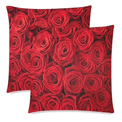Lxmn Custom 2 Pack Plenty Red Natural Rose Throw Cushion Pillow Case Covers  18x18 Twin Sides dcf93fd23
