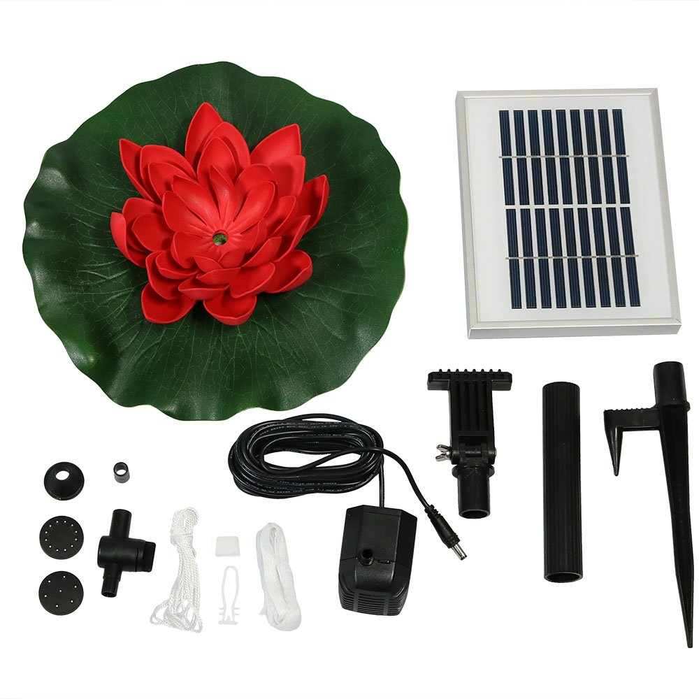 Sunnydaze Submersible Water Pond Pump Solar Fountain Kit, Outdoor Floating Lotus Flower, 48 GPH, Red by Sunnydaze Decor (Image #4)