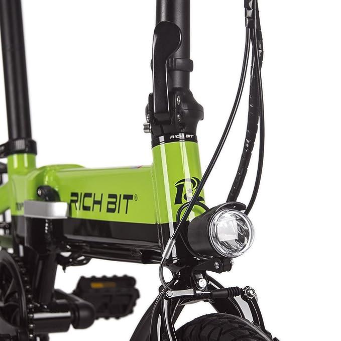 RICH BIT: RT-618, minibicicleta eléctrica plegable, 250 W, 36 V, 10,2 Ah; con batería de larga duración, motor estanco, cuadro de aluminio, ...